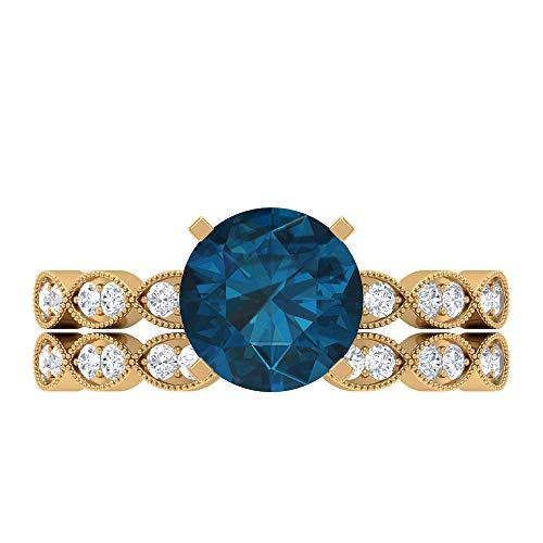 Conjunto de anillos solitario para novia, 2,49 quilates redondos, D-VSSI Moissanite 8 mm de topacio azul Londres, anillo de catedral con piedras laterales, 18K Oro amarillo, Size:EU 60