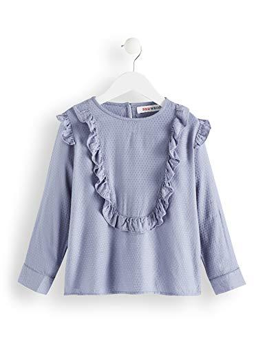 Amazon-Marke: RED WAGON Mädchen Langarmshirt mit Rüschen-Details, Blau (Blue), 116, Label:6 Years