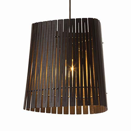 Kerflights houten hanglamp bruin | Handgemaakt in Nederland | Pendellamp Design Dimbaar | Lamp E27