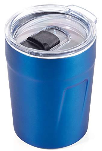 TROIKA Original ESPRESSO DOPPIO – CUP65/BL – Thermobecher (Espresso, Kaffee, Tee) – Isolierbecher, Travel Mug – Fassungsvermögen: 160 ml (5,4 oz) – Kunststoffdeckel (Verschlussschieber, schwappsicher)
