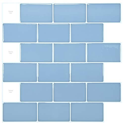 Art3d Azulejos de 30 x 30cm, para cocina, color azul claro brillante