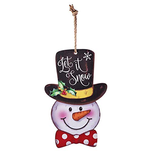 Snowman Door Wall Plaque Sign Christmas Holiday New Year Hanging Decoration Indoor Outdoor Wood Sign Home Decor -Let It Snow