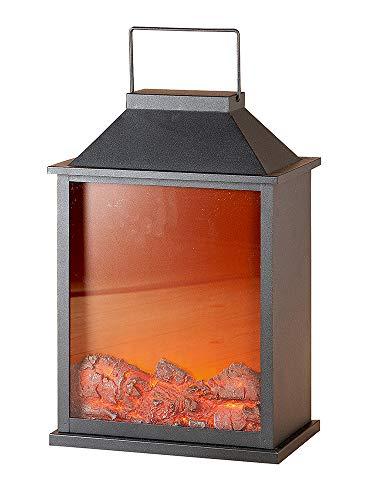 GILDE LED lantaarn - metaal - open haard - vlammen-look met stroomaansluiting H 47 cm