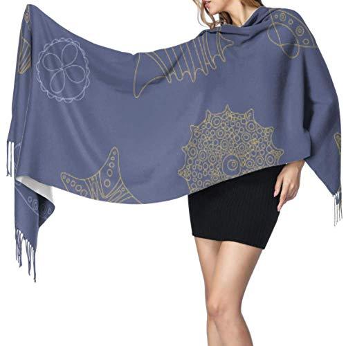 Buntes Wasserkreaturen-Seeigel-Schal für Mädchen und Mädchen, Wickeltuch, 196 x 68 cm, großer, weicher Pashmina, extra warm