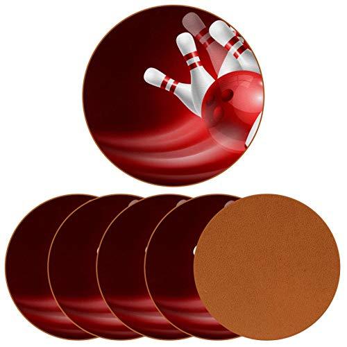 Getränkeuntersetzer Set mit 6 roten Bowlingkugel Crashing weiß glänzend Kegelchen rutschfest Leder Runde Tasse Cup Pad Matte für Zuhause Küche Dekorationen