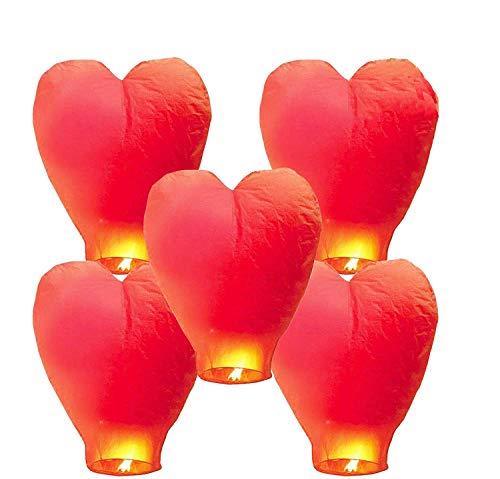 GCOA 5 Pack Linternas de Papel Farolillo celestiales Chinas - Linterna de Papel Resistente al Fuego, 100% Biodegradable, respetuosa con el Medio Ambiente y ecológica para su Lanzamiento en Sky,Rojo
