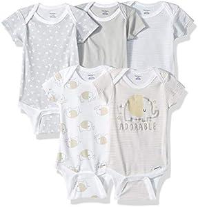 Gerber Baby 5-Pack Short-Sleeve Onesies Bodysuit, Elephant, 6-9 Months