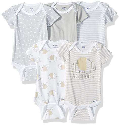 Gerber Baby 5-Pack Variety Onesies Bodysuits, Elephant, 0-3 Months