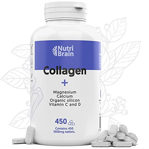 Colágeno Hidrolizado con Magnesio XXL 450 COMP (6 meses) para Articulaciones, Piel, Pelo, Músculos, Sistema Inmunológico y más Energía | Potenciado con Vitamina C y D, Calcio, Silicio Orgánico