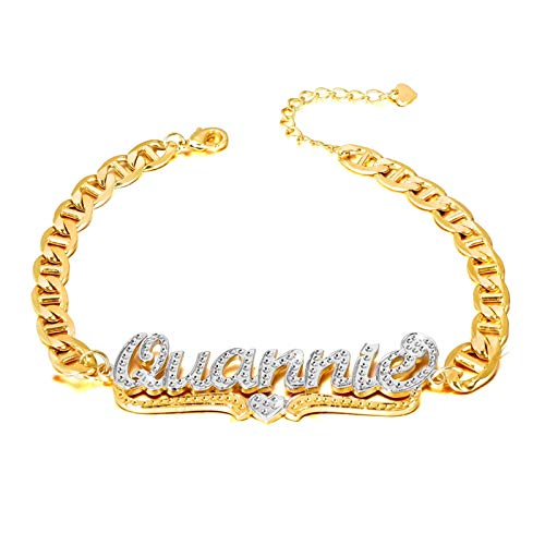 Cfustiy Name Bracelet Personalized for Women Initial Charm Bracelet 18K Gold Plated Custom Nameplate with Any Words Jewelry Gift for Teen Girls