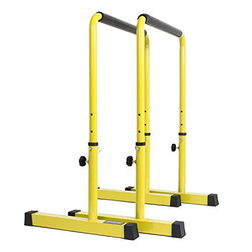 POWER GUIDANCE Barres Dip Traction Ajustable/Pompe Gymnastique/Barres Parallèles Haute Parallettes (Jaune)