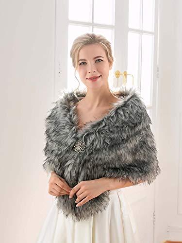 Mayelia sin mangas de la década de 1920 de piel de boda chales y envolturas gris oscuro nupcial piel de conejo estola para mujeres y novias