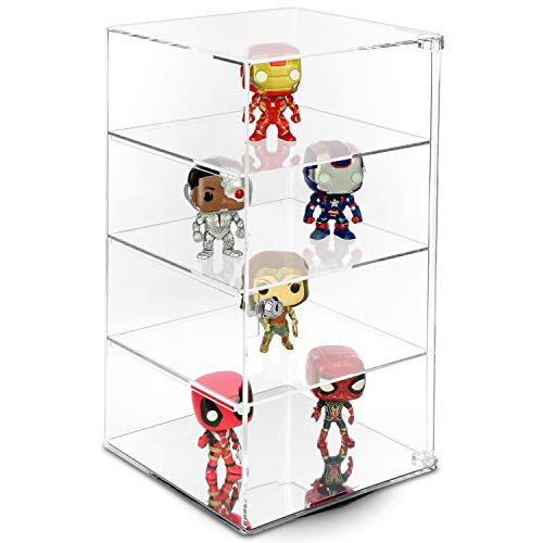 Mooca Rotating Acrylic Lockable Showcase Display Case for Collectibles with 3 Removable Shelves & Mirrored Bottom