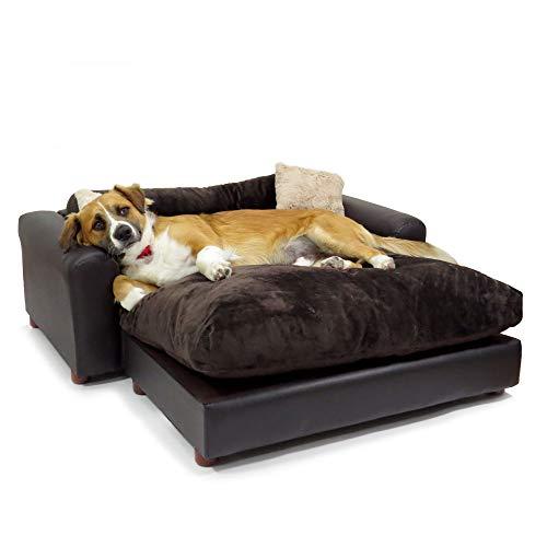 Moots Premium Leatherette Pets Sofa Espresso, Extra Large