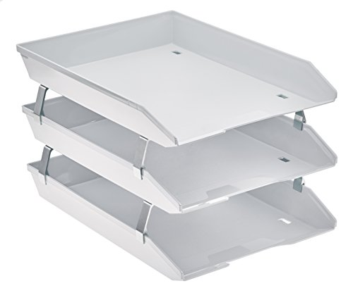 Acrimet Facility 3 Tier Letter Tray Front Load Plastic Desktop File Organizer (White Color)