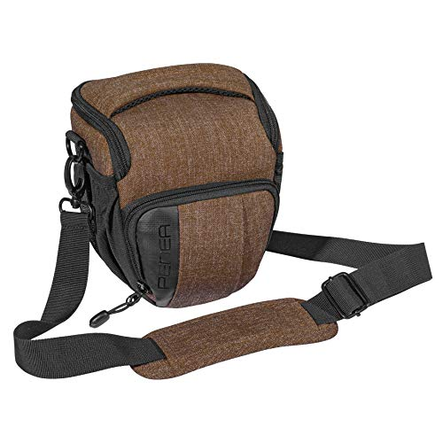 Neu PEDEA DSLR-Kameratasche Fashion Fototasche für Spiegelreflexkameras mit wasserdichtem Regenschutz, Tragegurt und Zubehörfächern (Größe M, braun) …
