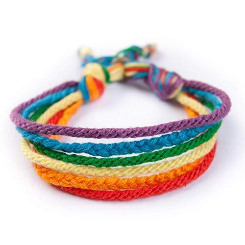 Wrist BCN pulsera de hilo de algodón colorida 25 cm. cierre fácil ajustable. Tejido artesanal trenzado de arcoíris hecho en Barcelona, España.