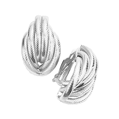 Schmuckanthony Hoernel - Pendientes largos y ligeros de clip de plata con diseño de 3,6 cm de largo