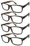 TBOC Gafas de Lectura Presbicia Vista Cansada - (Pack 4 Unidades) Graduadas +3.00 Dioptrías Montura de Pasta Marrón Carey Diseño Moda Hombre Mujer Unisex Lentes de Aumento Leer Ver Cerca
