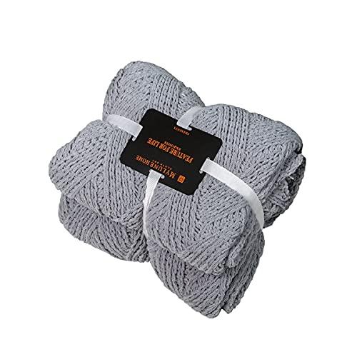 MYLUNE HOME Manta gruesa tejida de chenilla para acurrucarse en el sofá, ver televisión, tomar una siesta en la silla 130x160cm Gris Plateado