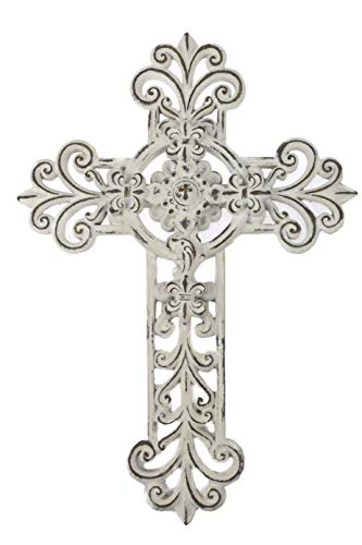 Comfy Hour Cross Cross on the Wall Collection 12' Handmade Classic Hollow Out Cross Resin Art Wall Decor