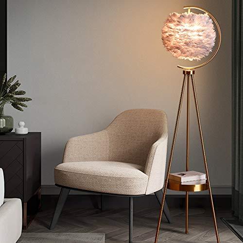 Z-LIANG Lámparas de piso Nórdica moderna LED Pluma Lámpara de mesa con el tema del hotel creativo decoración cálida y lámpara de pie cabecera del dormitorio romántico (Body Color : Black)