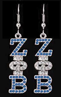 Zeta Phi Beta Austrian Crystal Jeweled Earrings in Silver