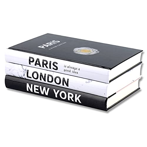 3 Pieces Fashion Decorative Book,Hardcover Modern Decorative Book Stack,Fashion Design Book Set,Display Books for Coffee Tables/Shelves(Paris/New York/London)
