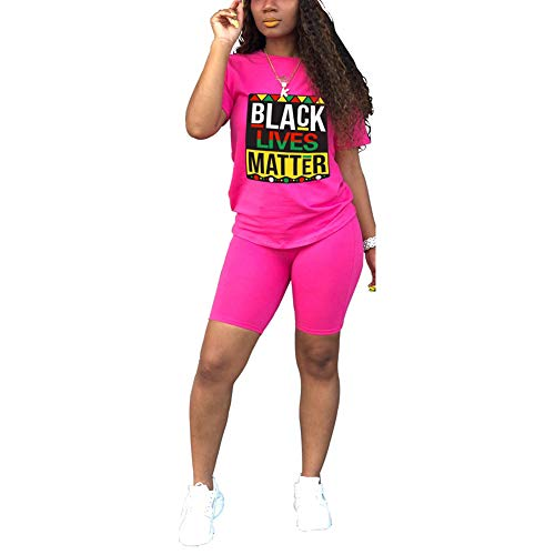 Annystore Short Set Outfit for Women - Casual Sport 2 Piece Tracksuit Short Sleeve Print Top Bodycon Short Pants Set