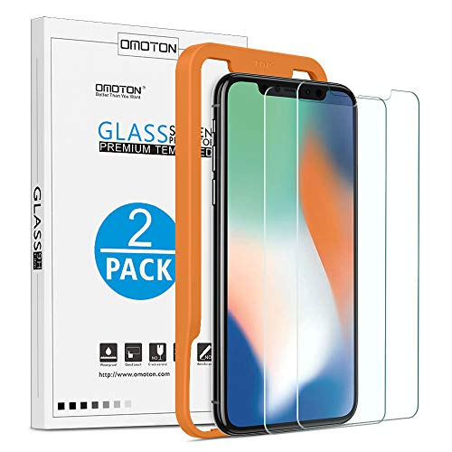 OMOTON Film pour iPhone X/11 Pro, Verre Trempé Protection Ecran avec Gabarit Offert Installation Facile, Non Friable, Anti-Empreinte Digitale Tactile Sensible Compatible iPhone X/Xs/11 Pro [2 Pcs]