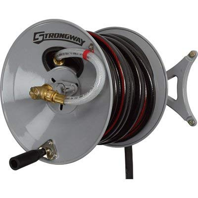 Strongway Parallel or Perpendicular Wall-Mount Garden Hose Reel - Holds 5/8in. x 150ft. Hose