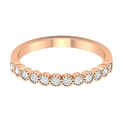 Anillo de mujer moissanita con forma redonda de 1/3 ct, forma redonda, anillo único de media eternidad, anillo de oro macizo grabado, 14K Oro rosa, Size:EU 66