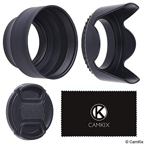 77mm Set of 2 Camera Lens Hoods and 1 Lens Cap - Rubber (Collapsible) + Tulip Flower - Sun Shade/Shield - Reduces Lens Flare and Glare - Blocks Excess Sunlight for Enhanced Photography and Video Foo