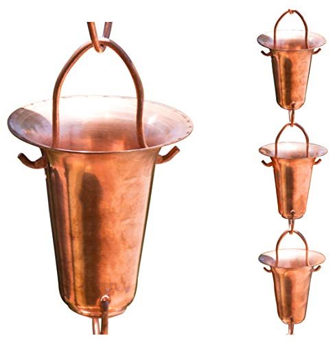 Monarch Pure Copper Funnel Rain Chain, 8-1/2-Feet Length