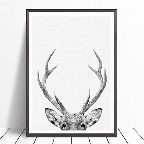 JEfunv Deer Print Woodland Tier Kinderzimmer Wandkunst Leinwand Gemälde Hirschkopf Poster Moderne Fotografie Bild Kinderzimmer (50 x 70 cm x 1 ohne Rahmen)