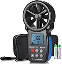 Digital Anemometer,Handheld Wind Speed Meter,Airflow Gauge Measures Air Temperature (℃/℉) Velocity for HVAC CFM with Wind Chill Backlight (ANNMETER AN-100)