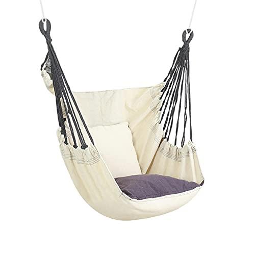 Hamaca con cojín, silla colgante de balcón, para adultos y niños, soporta hasta 200 kg, para interior y exterior, para jardín