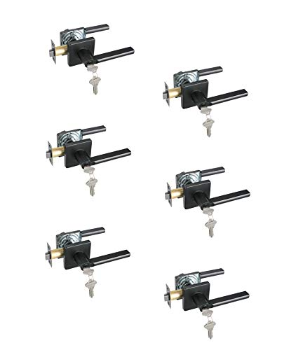 Heavy Duty Entry Lever Door Handle Set Keyed Alike Iron Black Finish Key Slim Square Locking Lever Set, Classic Door Handle with Lock 6 Pack