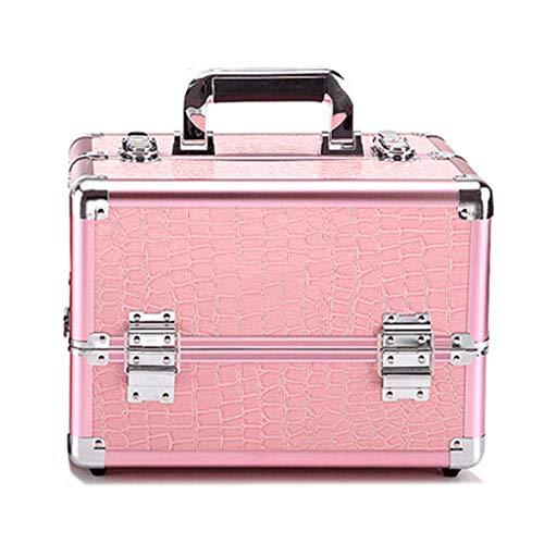 Contactsly Lazy Make-up-Tasche aus Aluminium, professionell, für Make-up, Nagelkosmetik-Box, Krokodil-Muster, Make-up-Pinselhalter für Frauen Pink(m)