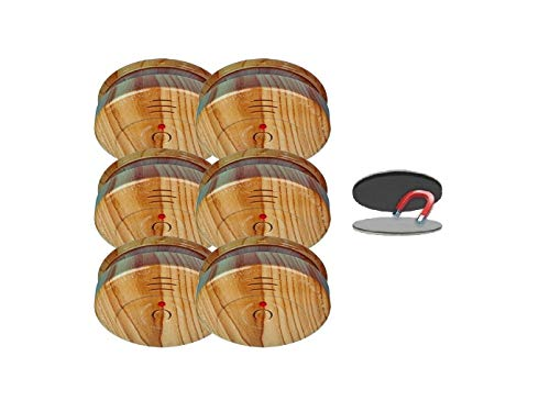 SMARTWARES 6er-Set optische Rauchmelder in Holzoptik inkl. Magnethalter, 85dB Alarm; RM149H; RMAG2