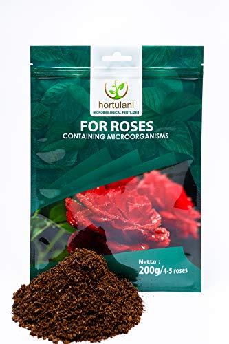 Hortulani Fertilizzante Rose - 100% Fertilizzante Naturale, Biologico e microbiologico per Rose, Confezione da 200 g per nutrire 4-5 Rose, la Tua Rosa fiorirà Come mai Prima!
