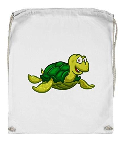 Druckerlebnis24 Turnbeutel - Schildkröte Cartoon Comic Freudig - Stoffbeutel aus Bio Baumwolle
