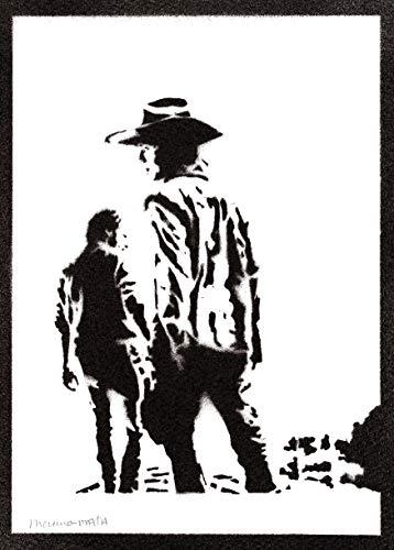 Póster Carl y Rick The Walking Dead Grafiti Hecho a Mano - Handmade Street Art - Artwork