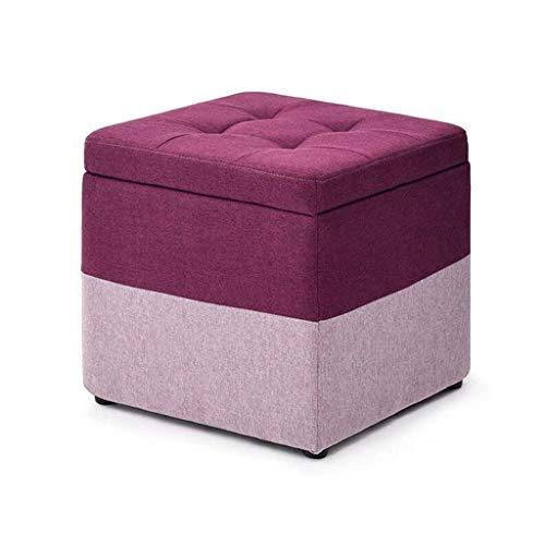 ykw Kreativer Hocker | Fußhocker Holzwechsel Schuhhocker | Pouffe Chair Square Abnehmbarer Sitz aus Leinenbezug
