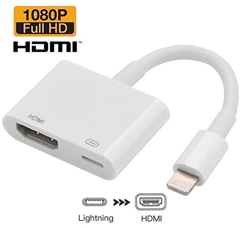 XVZ Lighting to HDMI Adapter Cable, Digital AV Adapter 1080p Sync Screen HD TV Connector Cord with Charging Port for iPhone Xs Max XR 8 7 6Plus, iPad Pro Mini Air to TV Projector Monitor