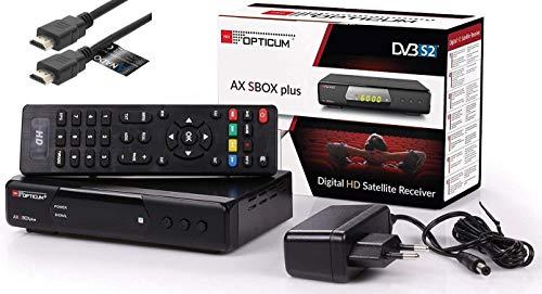 Opticum AX SBOX Plus HD HDTV - Receptor de satélite digital (DVB-S2, SAT, HDMI, SCART, USB 2.0, Hello, Easyfind, SCR Unicable, Full HD 1080p)