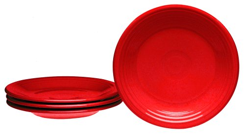 Fiesta 7-1/4-Inch Salad Plates, Set of 4, Scarlet