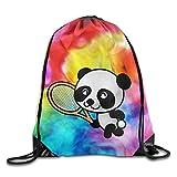 uykjuykj Bolsos De Gimnasio,Mochilas,Tennis Panda Player Portable Shopping Travel Shoulders Bag Drawstring Backpack Lightweight Unique 17x14 IN