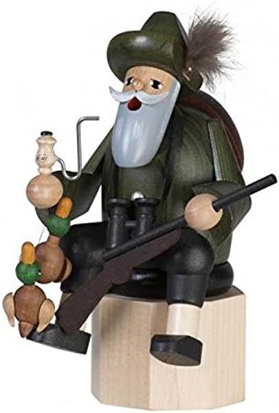 KWO Sitting Duck Hunter Forester German Wood Christmas Incense Smoker Germany