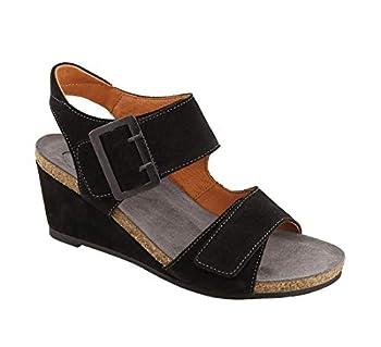 Taos Footwear Women s High Society Black Suede Sandal 9-9.5 M US